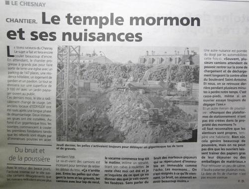 Le temple Mormon et ses nuisances